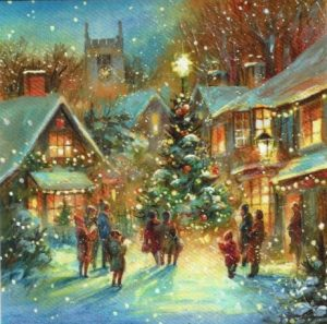 picture shows a snow scene of a village with villagers around a christmas tree
