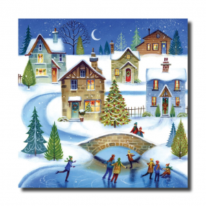 picture is people skating on a pond with snow covered houses