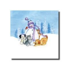 card showing a snowman with a robin, cats and dogs