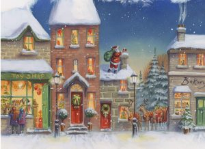 Image shows a Christmas street with shops and houses withSanta on the roof