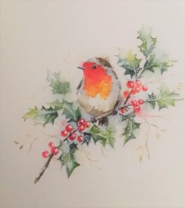 Image of a Robin sitting on a branch of holly -